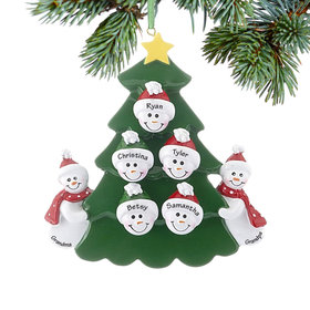 Personalized 2 Snowmen Grandparents Tree with 5 Grandchildren Christmas Ornament