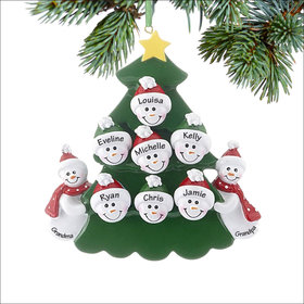 Personalized 2 Snowmen Grandparents Tree with 7 Grandchildren Christmas Ornament