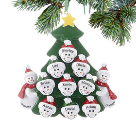 Personalized 2 Snowmen Grandparents Tree with 9 Grandchildren Christmas Ornament