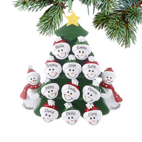 Personalized 2 Snowmen Grandparents Tree with 11 Grandchildren Christmas Ornament