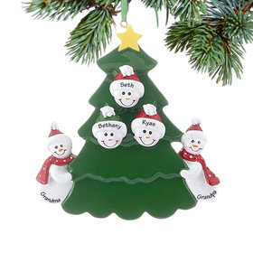 Personalized 2 Snowmen Grandparents Tree with 3 Grandchildren Christmas Ornament