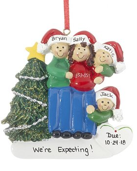 Personalized Expecting Family of 4 Christmas Ornament
