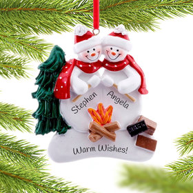 Personalized Campfire Couple Christmas Ornament