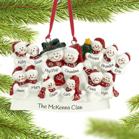 Personalized Snow Family of 13 with Tree Christmas Ornament