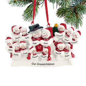 Personalized Snow Family of 14 with Tree Christmas Ornament