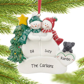 Personalized Snow Couple with Black Dog Christmas Ornament