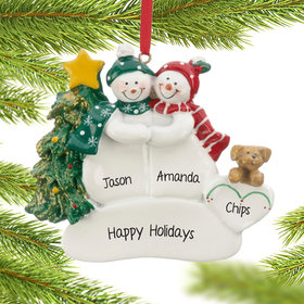 Personalized Snow Couple with Tan Dog Christmas Ornament