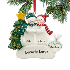 Personalized Snow Couple with White Dog Christmas Ornament