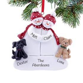 Personalized Snow Couple with 2 Dogs (Black & Tan) Christmas Ornament