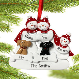 Personalized Snow Family of 3 with 2 Dogs (Black & Tan) Christmas Ornament