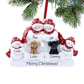 Personalized Snow Family of 4 with 2 Dogs (Black & Tan) Christmas Ornament