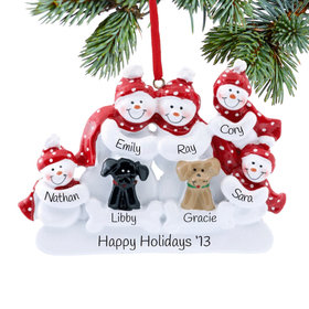 Personalized Snow Family of 5 with 2 Dogs (Black & Tan) Christmas Ornament