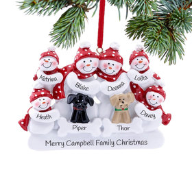 Personalized Snow Family of 6 with 2 Dogs (Black & Tan) Christmas Ornament