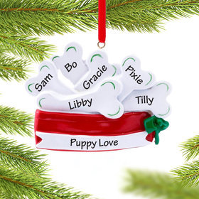 Personalized Pet Dish Filled with Dog Bones Christmas Ornament