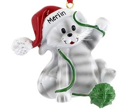 Personalized Cat with Ball of Yarn (White & Grey) Christmas Ornament