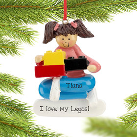 Personalized Building Blocks Girl Christmas Ornament