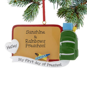 Personalized I Love Preschool Christmas Ornament