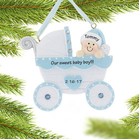 Personalized Baby Carriage Boy Baby Christmas Ornament