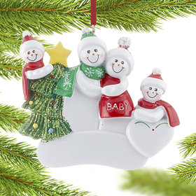 Pregnant Snow Couple with 2 Children Christmas Ornament