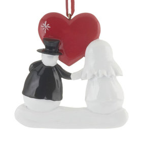 Snowman Wedding Couple with Red Heart Christmas Ornament