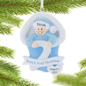 Personalized Baby's First Christmas Boy Bunting Christmas Ornament