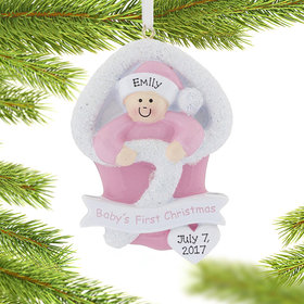 Personalized Baby's First Christmas Girl Bunting Christmas Ornament