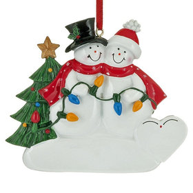 Snowman Couple Holding a String of Lights Christmas Ornament