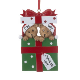 Personalized Bear Present Couple Christmas Ornament