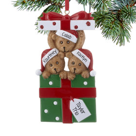 Personalized Bear Present Family of 3 Christmas Ornament