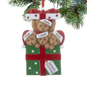 Personalized Bear Present Family of 4 Christmas Ornament