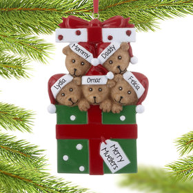 Personalized Bear Present Family of 5 Christmas Ornament