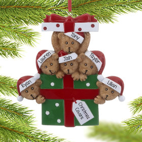 Personalized Bear Present Family of 6 Christmas Ornament