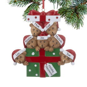 Personalized Bear Present Family of 7 Christmas Ornament
