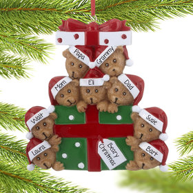 Personalized Bear Present Family of 9 Christmas Ornament
