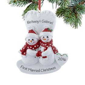 Personalized Smiling Snowman Couple Christmas Ornament