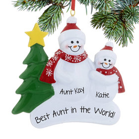 Personalized Single Adult Snowman with 1 Child Christmas Ornament