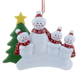 Single Adult Snowman with 3 Children Christmas Ornament