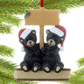 Black Bear Couple with Sign Christmas Ornament