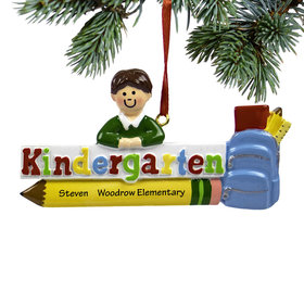 Personalized Kindergarten Boy Christmas Ornament