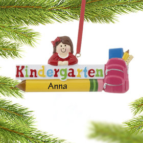 Personalized Kindergarten Girl Christmas Ornament