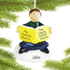 Personalized I Love Reading Boy Christmas Ornament