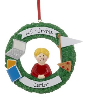 Personalized College Days Boy Christmas Ornament