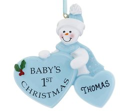 Personalized Baby's 1st Christmas Heart Boy Christmas Ornament