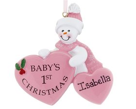 Personalized Baby's 1st Christmas Heart Girl Christmas Ornament