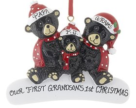 Personalized Sitting Black Bear Family of 3 Christmas Ornament