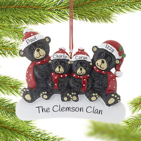 Personalized Sitting Black Bear Family of 4 Christmas Ornament