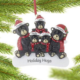 Personalized Sitting Black Bear Family of 5 Christmas Ornament