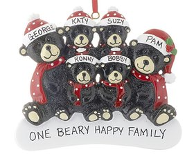 Personalized Sitting Black Bear Family of 6 Christmas Ornament