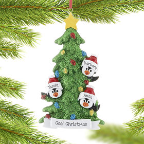 Personalized Penguin Tree Family of 3 Christmas Ornament