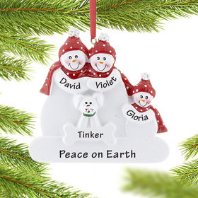Personalized Snowman Family of 3 with White Dog Christmas Ornament